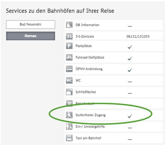 """Bahn.de zeigt an: Bahnhof mit """"Stufenfreiem Zugang"""""""