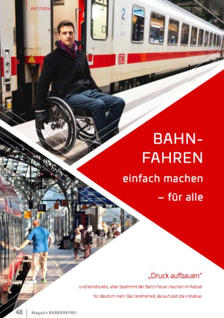 Artikel Cover - Rollinutzender vor IC der Deutschen Bahn. Text: Bahnfahren einfachen machen für alle