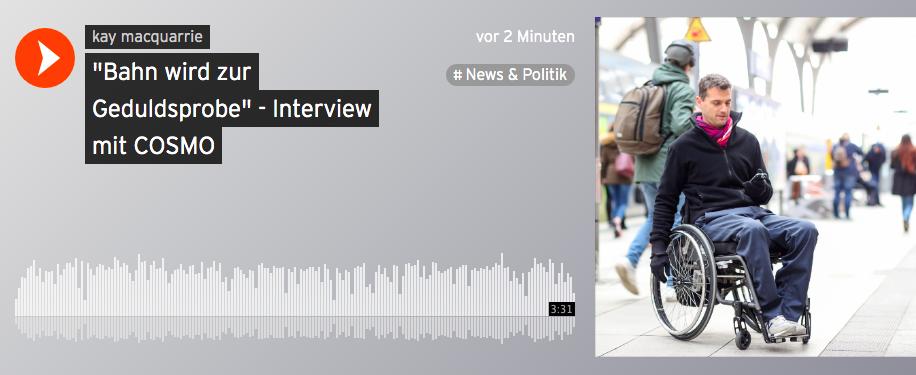 Screenshot Soundcloud mit Bild vom Rollinutzenden auf dem Bahnsteig