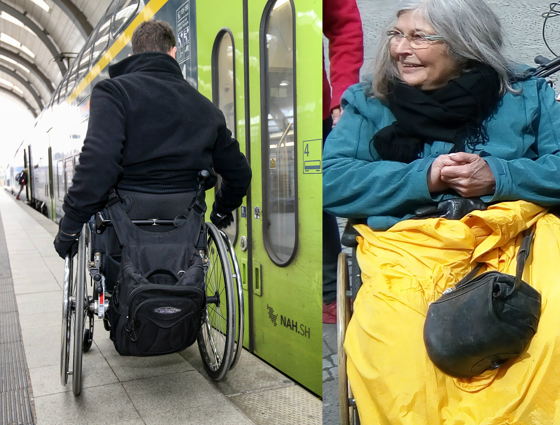Rollinutzender Kay Macquarrie vor Regionalbahn; daneben Rollinutzende Gerda Behrends